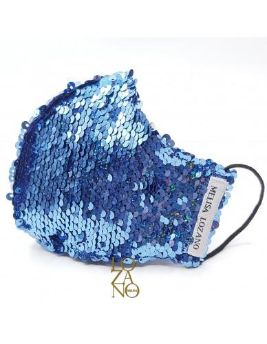 Mascarilla adulto lentejuelas azul